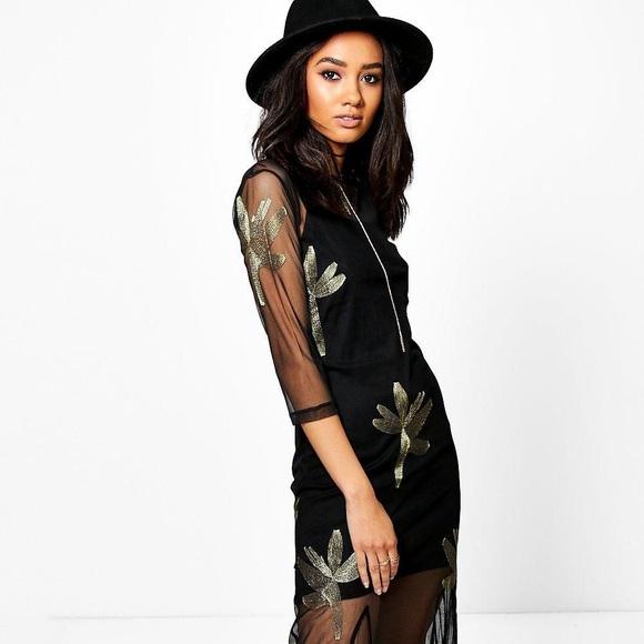 65841d8953c07 Boohoo Dresses & Skirts - Boohoo Sophia Embroidered Mesh Maxi Dress